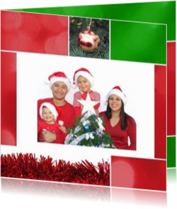 Kerstkaarten maken met eigen foto - kerstkaart own picture in christmas collage red and green, vk