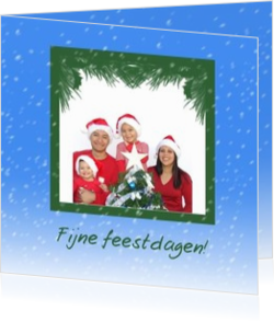 Kerstkaarten maken met eigen foto - kerstkaart own picture on blue sky with snow, vk