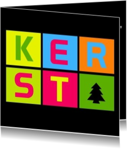Trendy kerstkaarten - kerstkaart kerst in colorful text on black, vk