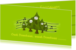 Cartoons en grappige kerstkaarten designs - kerstkaart OLD_singing christmastree in green