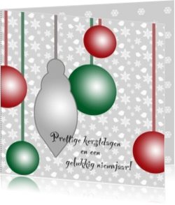 Kerstkaarten maken met eigen foto - kerstkaart OLD_christmasballs in red, grey and green, own picture