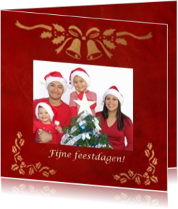 Kerstkaarten maken met eigen foto - kerstkaart OLD_christmasdecoration on red background own picture, vk