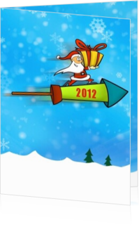 Cartoons en grappige kerstkaarten designs - kerstkaart OLD_santa with present, rh