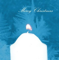 Klassieke kerstkaarten maken en versturen - kerstkaart white candles on blue background, vk