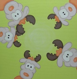 Cartoons en grappige kerstkaarten designs - kerstkaart reindeer on green, vk