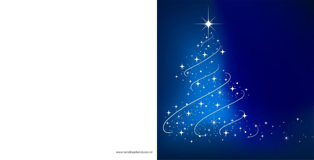 Kerstkaarten modern blauw met verlichte kerstboom