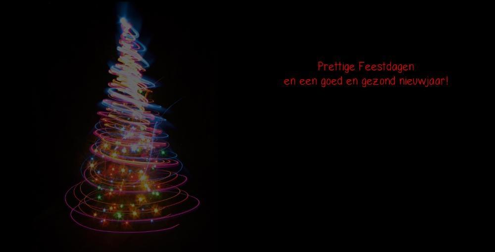 Kerstkaarten modern zwart met gekleurde kerstboom